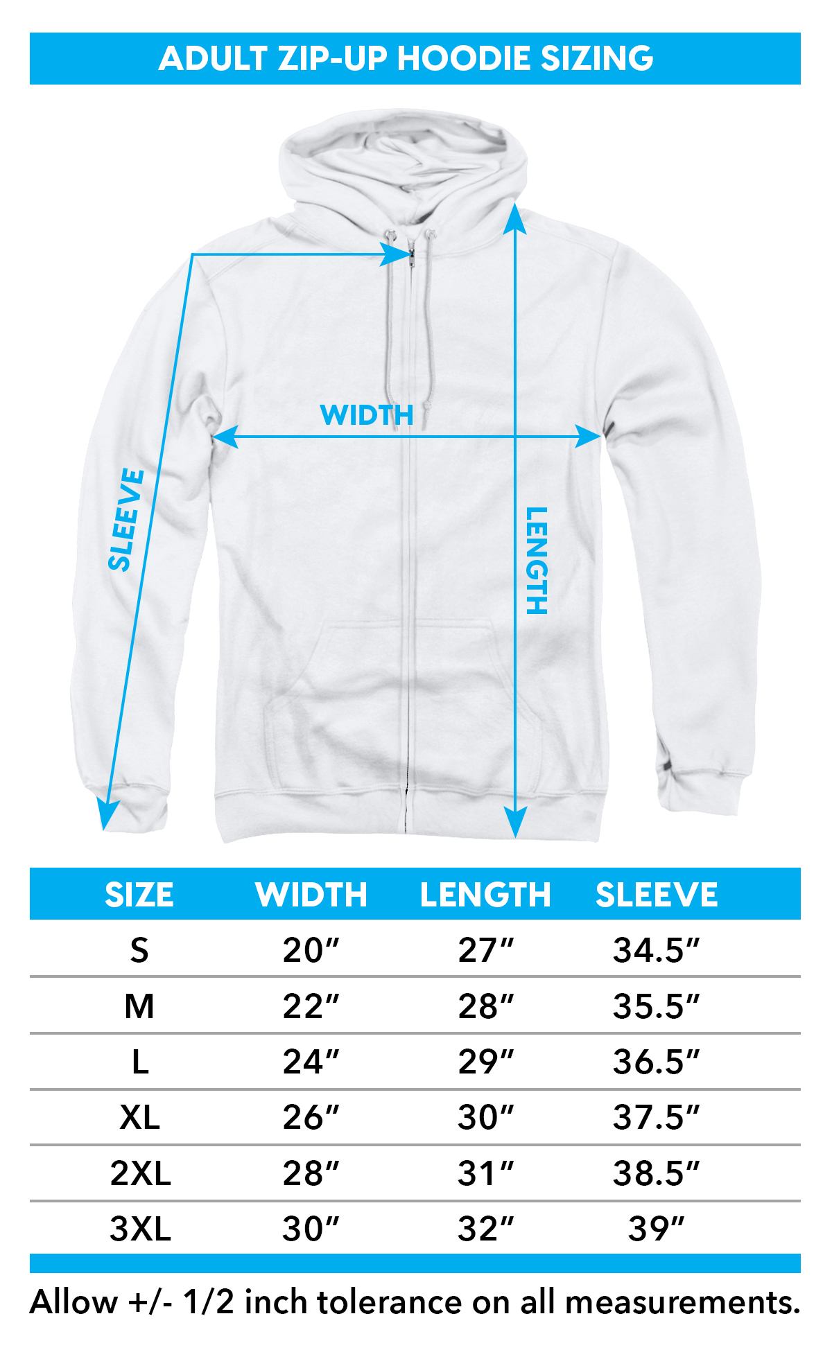 Sizing chart for Star Trek Zip Up Back Print Hoodie - Episode 17: Shore Leave  TRV-CBS522-AFTH