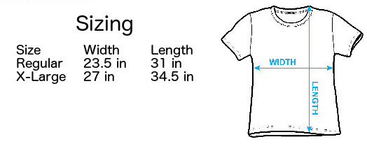 Size Chart for Flame Bikini Womens Cover Up T-Shirt