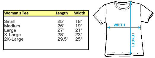 Sizing Chart for Juniors Scoop Neck Heather Shirt - She's My Gal