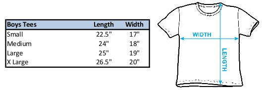 Size Chart for the Steven Universe Fist Pump Youth T-Shirt
