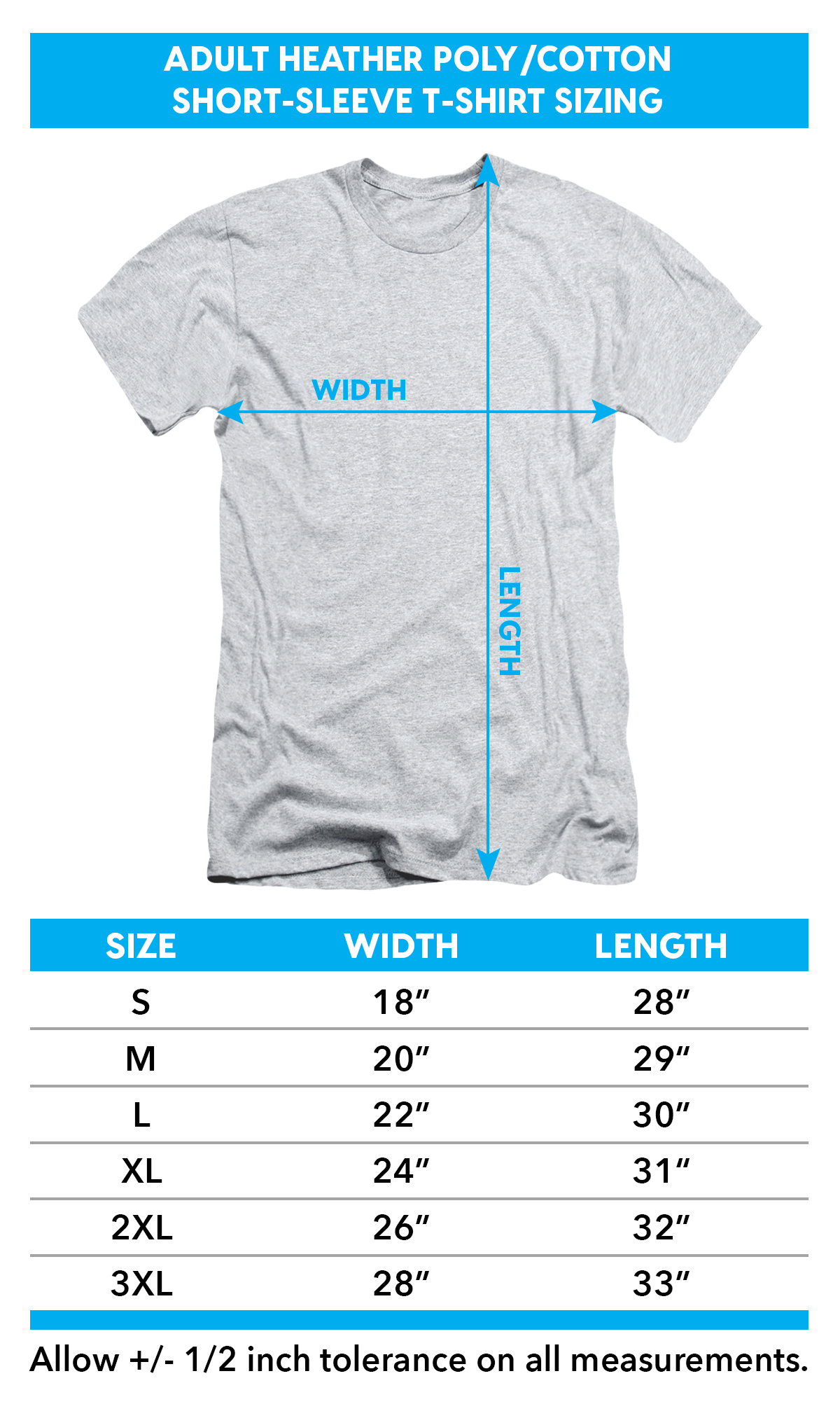 Size Chart for Bionic Woman Heather T-Shirt - Jamie & Max TRV-NBC538-HA