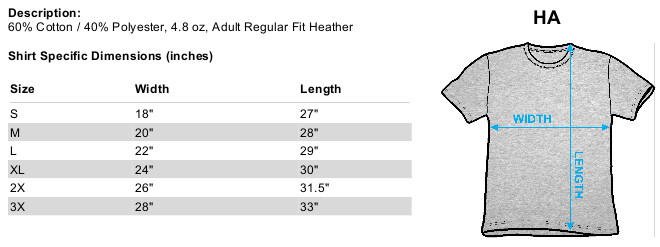 Size Chart for Sizing chart for the Kiss Creatures of the Night heather t-shirt