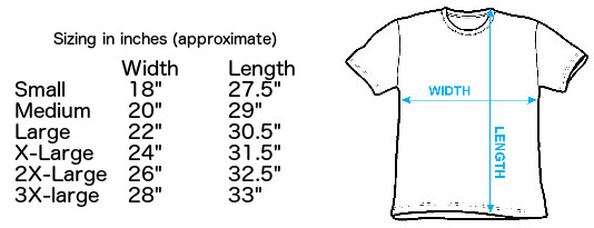 Sizing chart for Blue Velvet Pool Table T-Shirt IMP-BLUV01