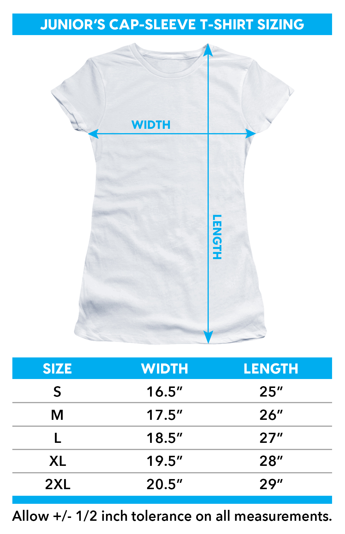Girls sizing chart for Child's Play Girls T-Shirt - Good Guy TRV-UNI420-JS