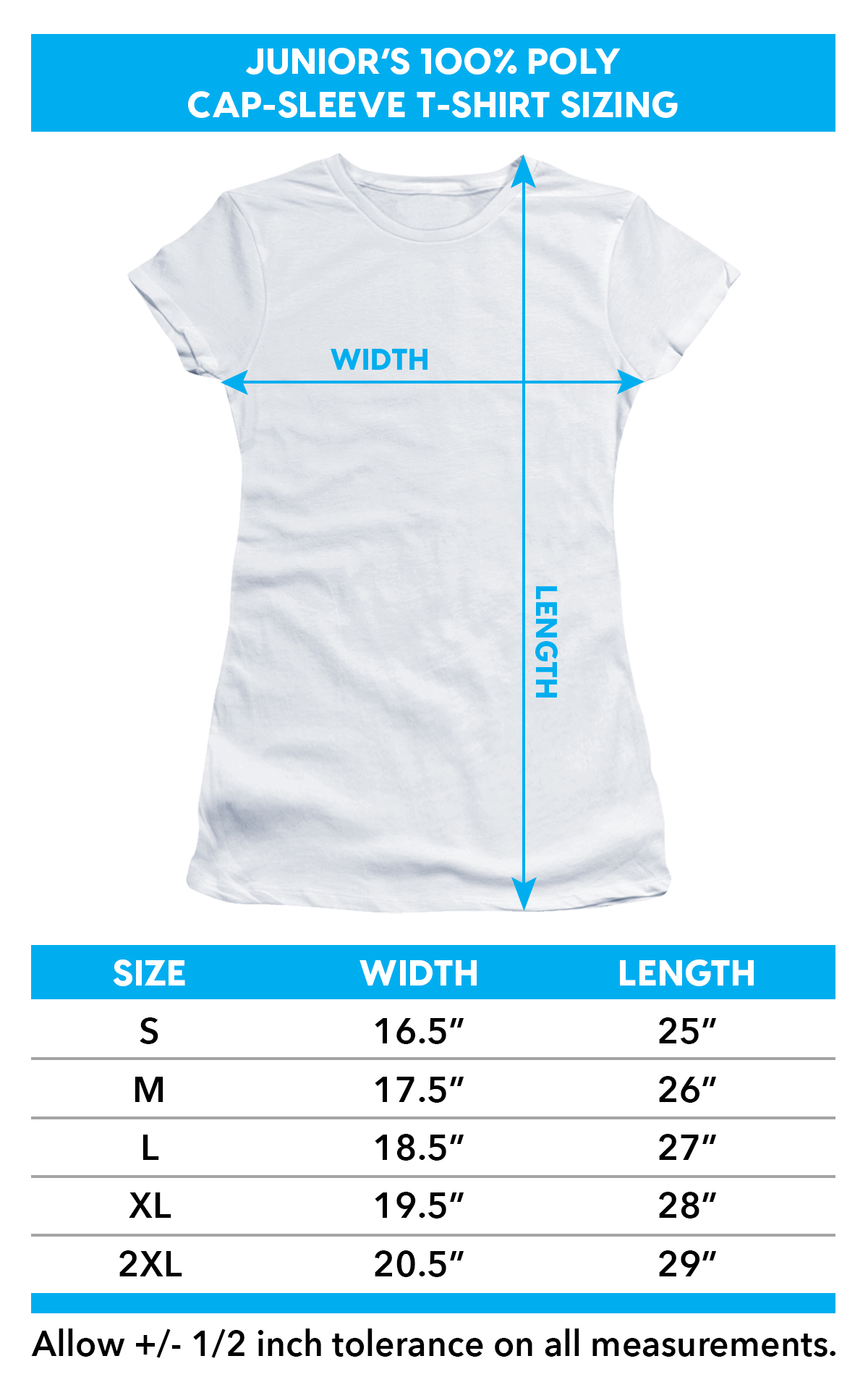 Sizing Chart for Anne Stokes Girls T-Shirt - Sublimated Dragon's Lair