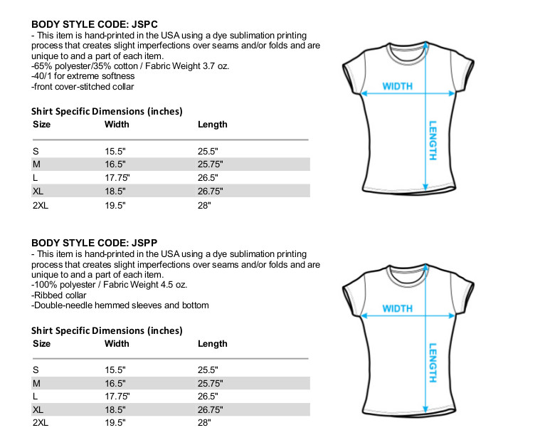 Sizing Chart for Scorpions Girls T-Shirt - Sublimated Blackout
