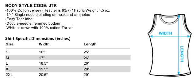 Sizing chart for the X-O Manowar Lightning Sword juniors tank top t-shirt