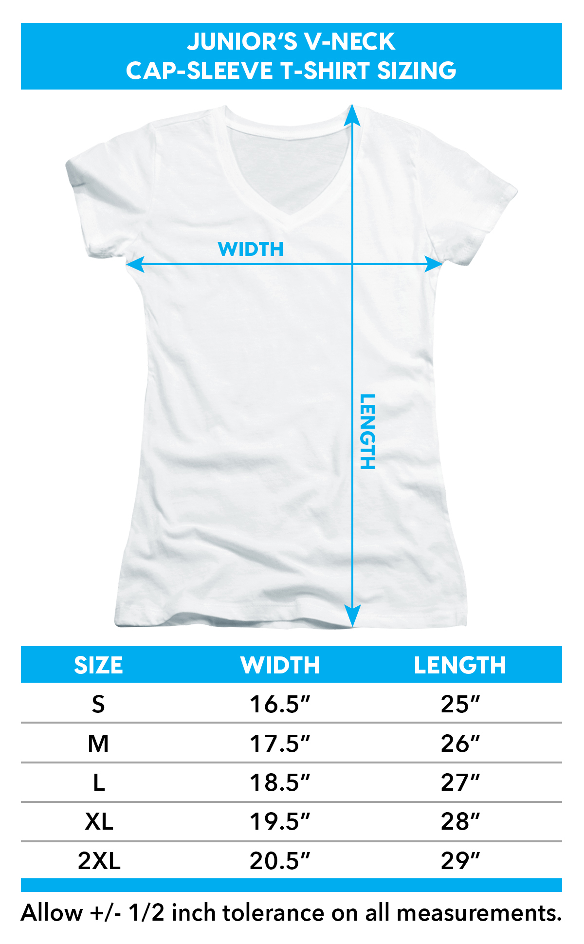 Sizing chart for Woodstock Girls V Neck T-Shirt - Peace Love Music TRV-WOOD104-JV