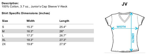 Sizing chart for Star Trek the Next Generation Girls V Neck - Space Group TRV-CBS1209-JV
