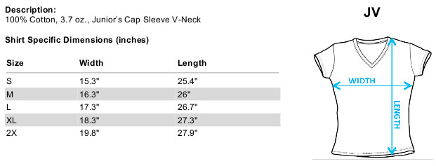 Sizing chart for Army of Darkness Girls V Neck - Jack Left Town TRV-MGM167-JV