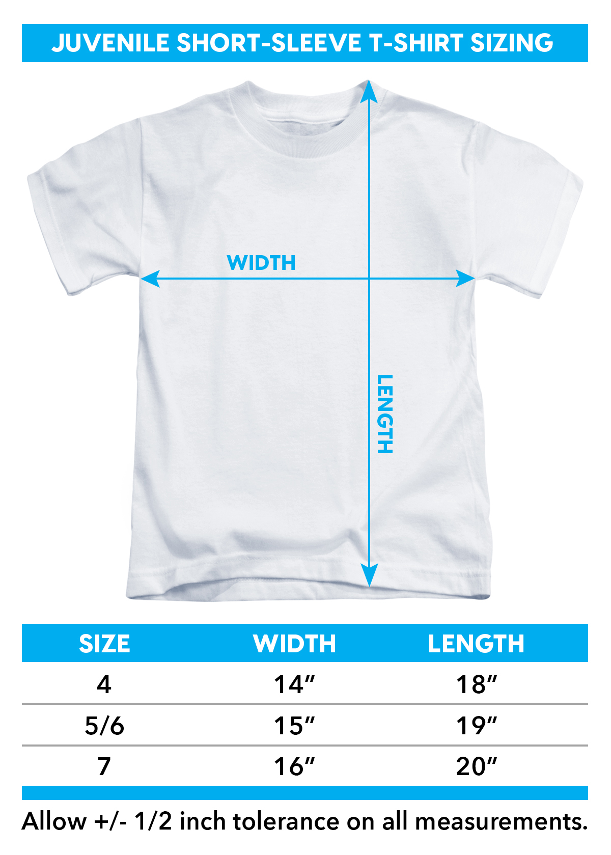 Sizing chart in inches for Stevie Ray Vaughan Kids T-Shirt - Texas Flood TRV-SRV100-KT