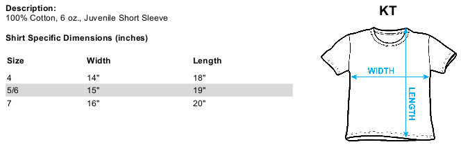 Sizing chart in inches for Kung Fu Panda Kids T-Shirt - Kung Furry  TRV-DRM304-KT