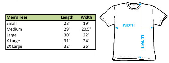 Size chart for Courage the Cowardly Dog T-Shirt Straight Up Logo