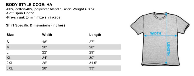 Size Chart for Billy Joel Heather T-Shirt - Glass Houses TRV-JOEL102-HA