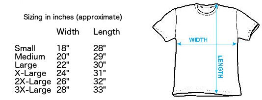 Sizing chart for Joy Division T-Shirt - Ian Curtis Big Print IMP-SUBJD02