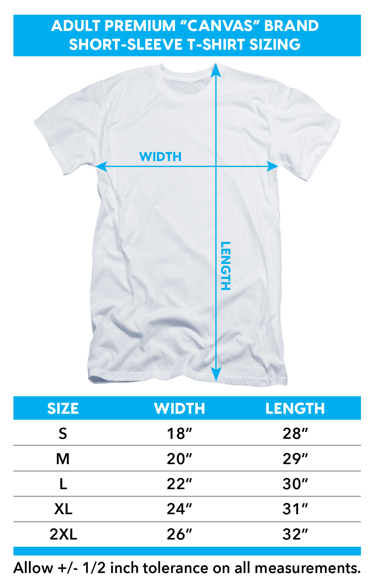 Size chart for Teen Wolf Premium Canvas Premium Shirt -