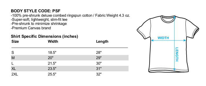 Size chart for The Powerpuff Girls Premium Canvas Premium Shirt - The Day is Saved Again