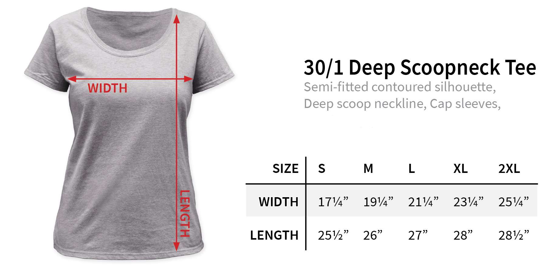 Size chart for Bambi Women's Scoopneck T-Shirt