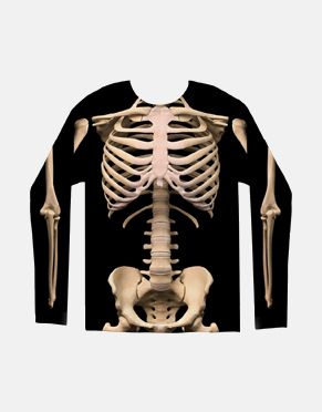 Skeleton Costume Sublimated Long Sleeve T-Shirt