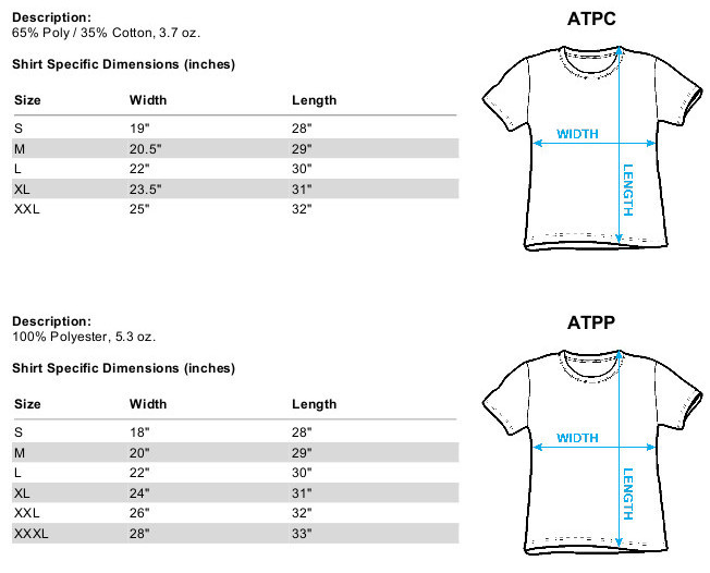 Sizing Chart for the Warriors Vest Sublimated T-Shirt