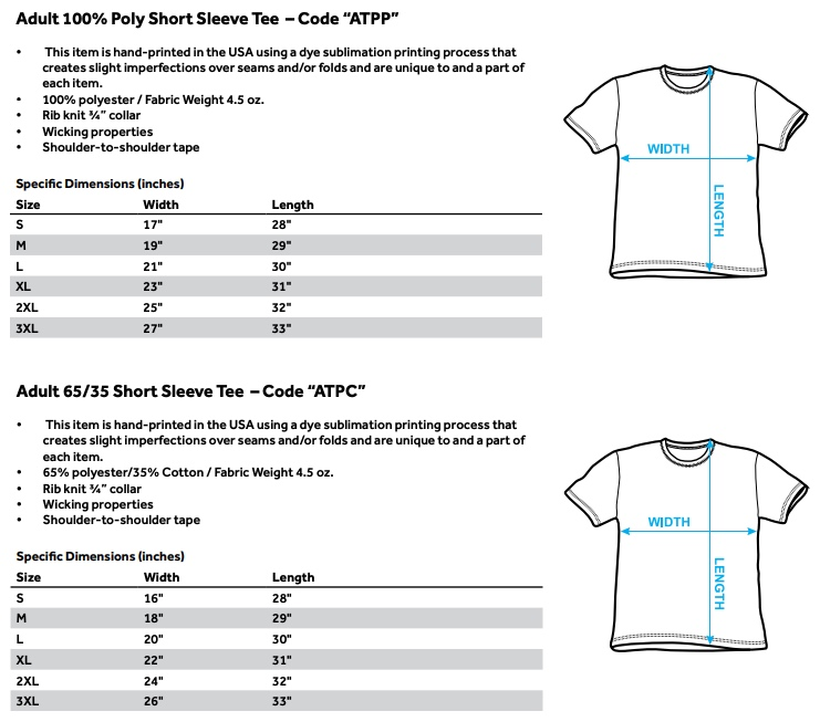 Sizing Chart for Bloodshot Cyber War Sublimated T-Shirt