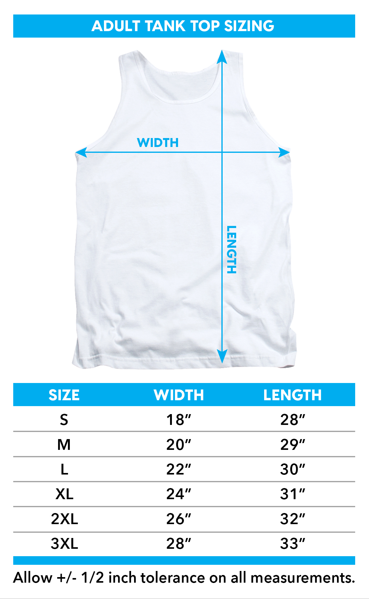 Sizing chart for Jaws Tank Top - Logo Cutout TRV-UNI997-TK