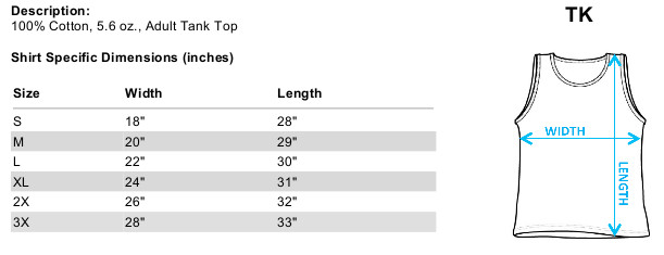 Sizing chart for Bruce Lee Tank Top - Lee Works Out TRV-BLE141-TK
