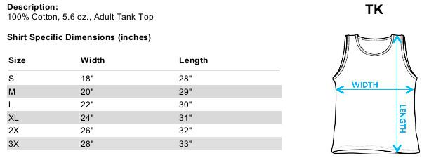 Sizing chart for Rambo Tank Top - Dropping Shells TRV-RAM202-TK