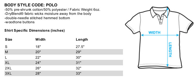 Sizing chart for Firefly Polo Shirt I Aim to Misbehave TCF465BK-POLO