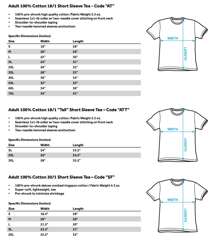 Size chart for Jaws T-Shirt - Bright Jaws TRV-UNI727-AT