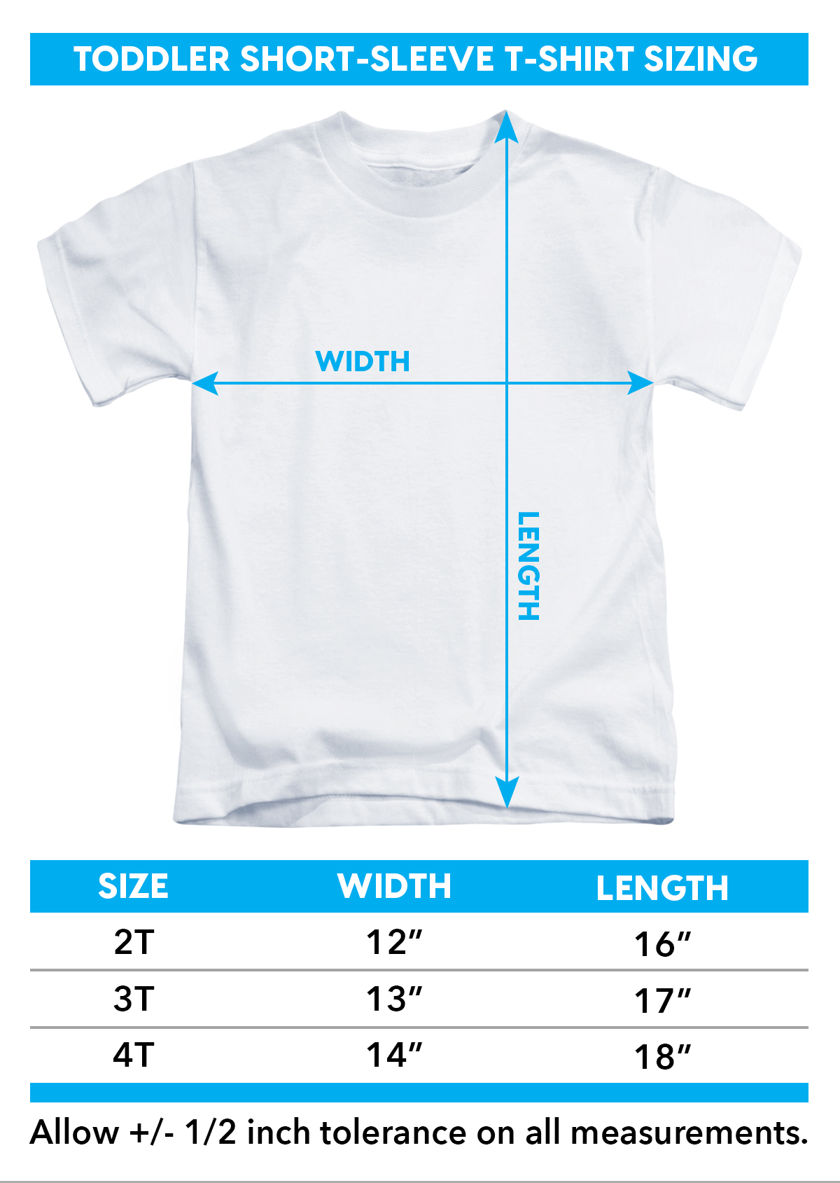 Sizing Chart for Power Rangers Toddler T-Shirt - Rangers Unite