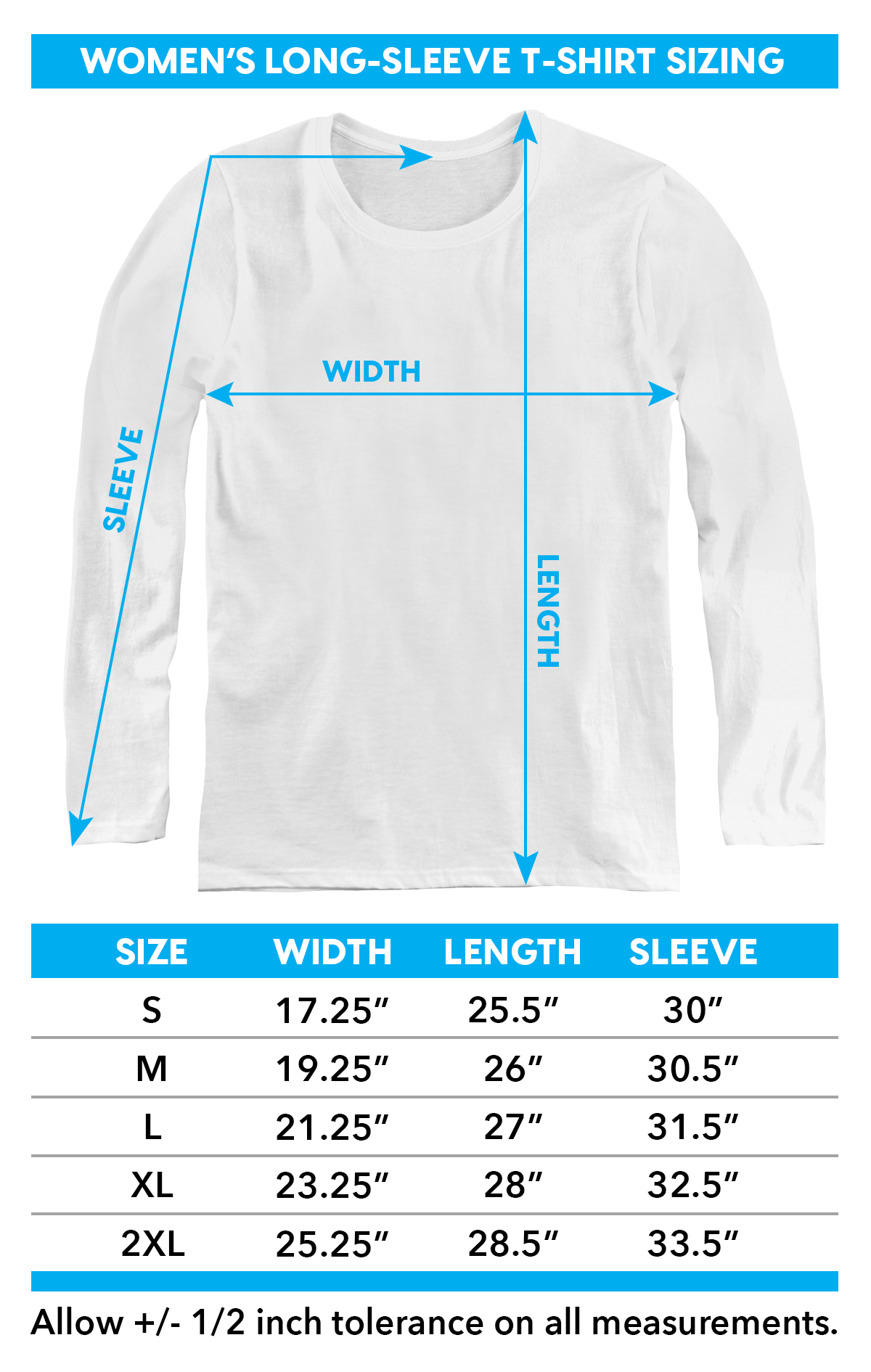 Size Chart for Aquaman Movie Women's Long Sleeve T-Shirt - Swimming with Sharks TRV-AQUA144-WL