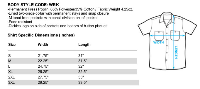 Sizing chart for Pink Panther Cool Cat Dickies Work Shirt