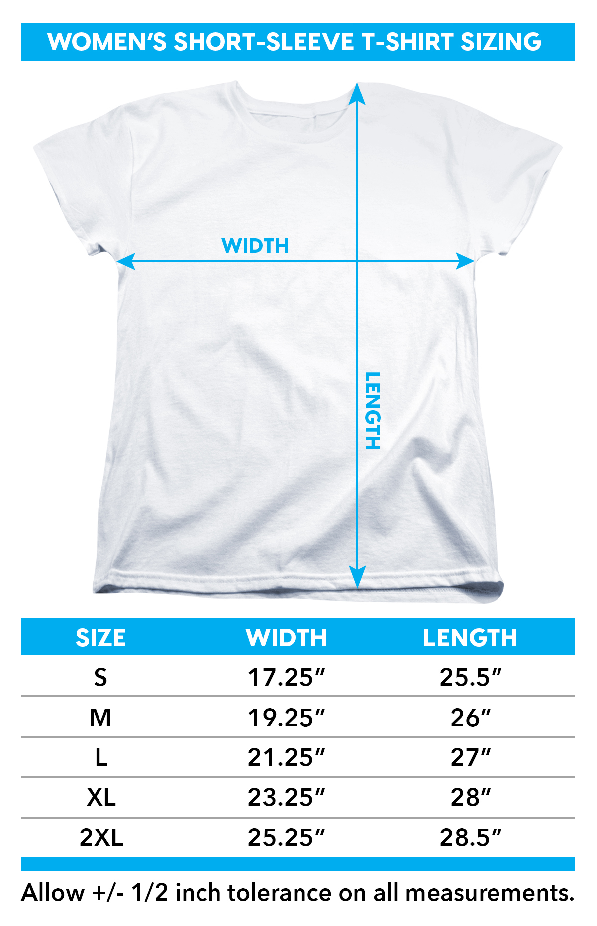 Size Chart for Steve Vai Woman's T-Shirt - Vai Axe TRV-BAND162-WT