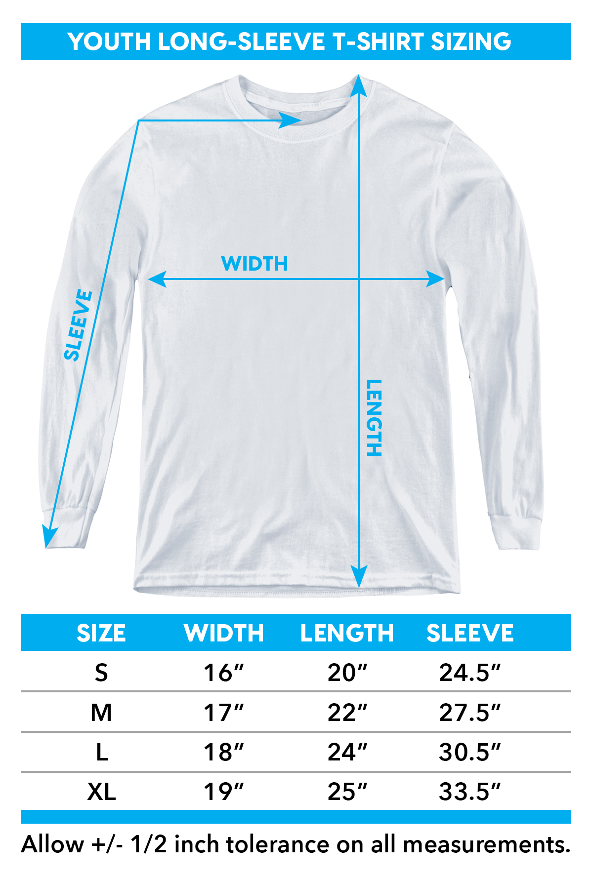 Sizing chart for Columbo Youth Long Sleeve T-Shirt - Just One More Thing TRV-CBS1055-YT
