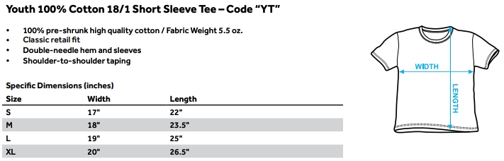 Sizing chart for Star Trek Youth T-Shirt - NCC1701 Animated TRV-CBS1152-YT