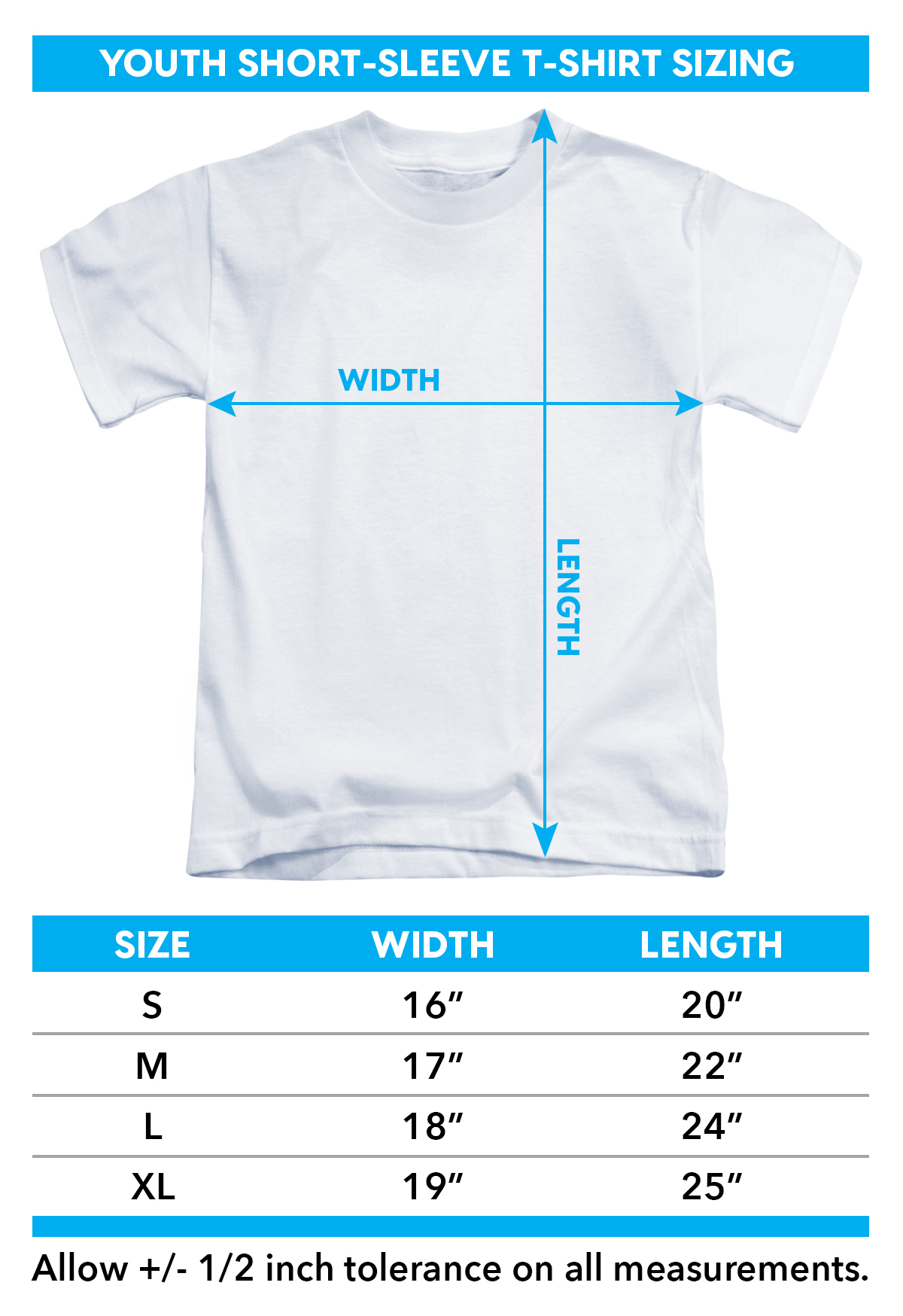 Sizing chart for Mighty Morphin Power Rangers Youth T-Shirt - Villains TRV-PWR4001-YT