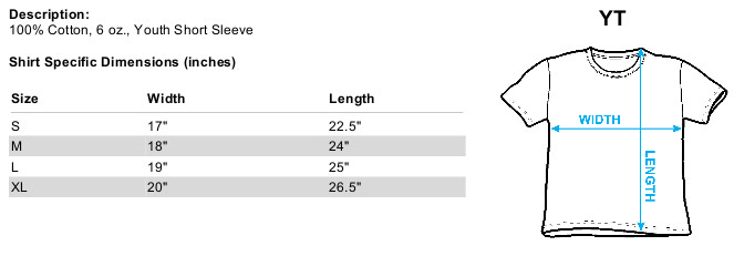 Sizing chart for Bruce Lee Youth T-Shirt - Enter the Dragon TRV-BLE109-YT