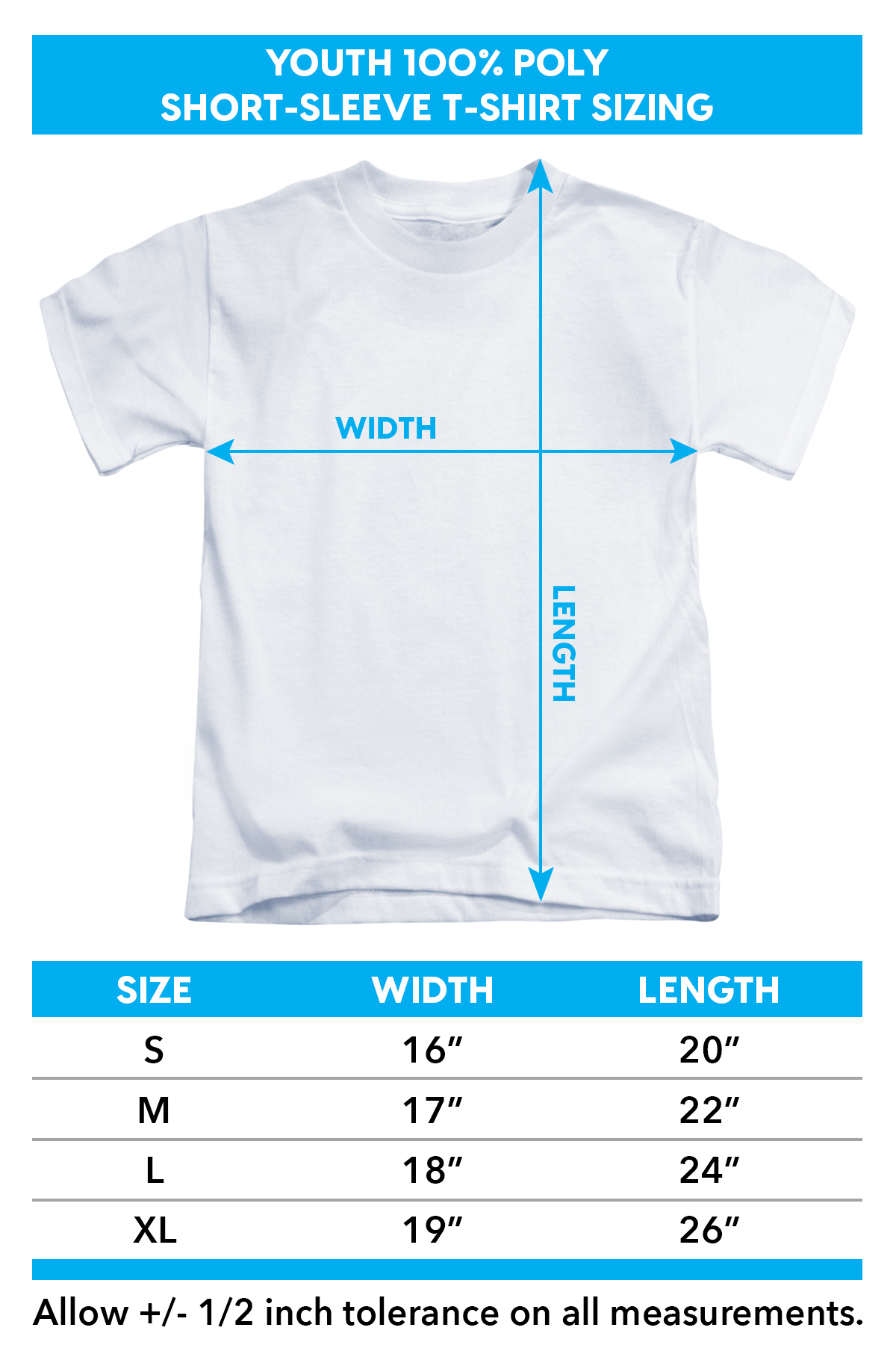 Sizing Chart for Power Rangers T-Shirt - Sublimated White Ranger Uniform