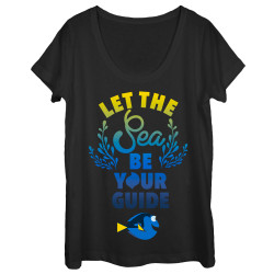 Image for Finding Dory Juniors Scoop Neck Heather Shirt - Sea Guide