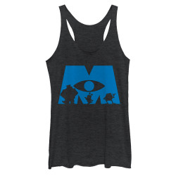 Image for Monsters Inc Womens Heather Tank Top - Simple Silhouette Logo