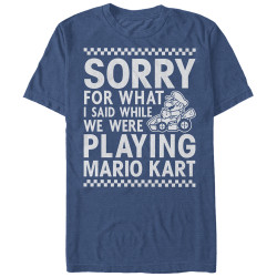 Image for Mario Bros Playing Mariokart Heather T-Shirt