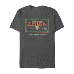 Image for Zelda Pixelated Push Start Heather T-Shirt