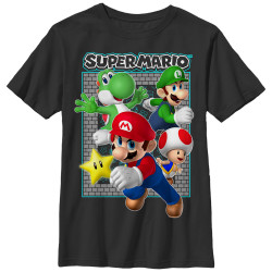 Image for Mario Bros Youth T-Shirt - Brick Frame