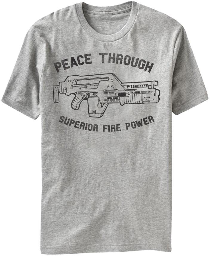 0c502196 Horror Movie - Alien Peace Through Superior Firepower T-Shirt ...
