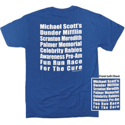 Image for The Office T-Shirt - Micheal Scott's Dunder Mifflin Screanton Meredith Palmer Memorial Celebrity Rabies Awareness Pro-Am Fun Run Race for the Cure