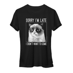 Image for Grumpy Cat Sorry I'm Late Girls T-Shirt