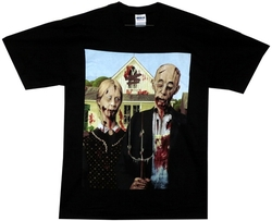 Image Closeup for Zombie T-Shirt - American Gothic Zombie