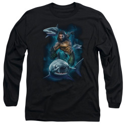 Image for Aquaman Movie Long Sleeve Shirt - Swimming with Sharks