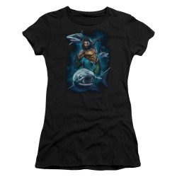 Image for Aquaman Movie Girls T-Shirt - Swimming with Sharks